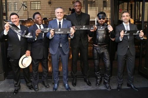 Hublot Opening Ceremony - Carlito Fuente, Pele, Ricardo Guadalupe (CEO of Hublot), Usain Bolt, Peter Marino and  ...