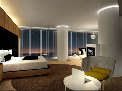 The Executive Corner Suites' bedroom features a plush sofa and views of the surrounding skyline.