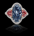 Long Oval Fancy Vivid Blue Diamond (nearly 3.5 carats). Ring includes two Fancy Intense Argyle Pink Diamonds (.93 carats). The One and Only One (TM).  (PRNewsFoto/The One and Only One(TM))