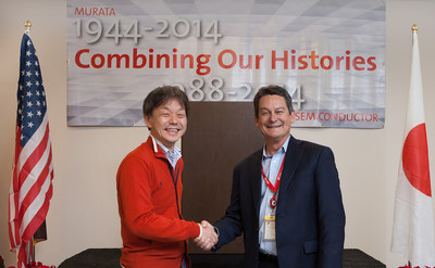 Norio Nakajima (left), Executive Vice President, Director of Communication Business Unit of Murata, and Jim Cable (right), President and CEO of Peregrine Semiconductor, celebrate the closing of the Murata acquisition of Peregrine Semiconductor.
