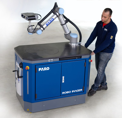 The FARO Factory Robo-Imager Mobile can be quickly and easily wheeled to any location. Once in position, the station wheels are retracted to provide a stable platform.