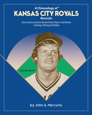 "Hall of Famer George Brett graces the cover of ""A Chronology of Kansas City Royals Records,"" by John A. Mercurio. The most complete KC Royals records book ever written. Every season and career record of every player in Royals history. The John Mercurio Baseball Records Book Project, a series of 30 major league baseball team record books, are the most complete baseball record books ever written. Because Records Matter!"