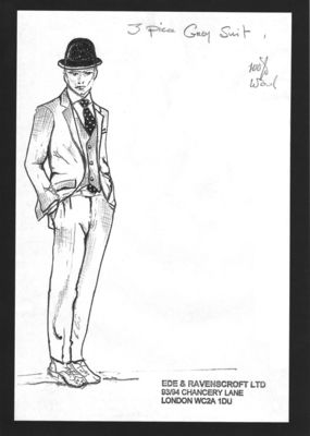 Sketch of Ede & Ravenscroft 3 piece grey suit, part of The English Gentleman presentation in collaboration with The Woolmark Company