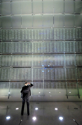 The Journalists Memorial at the Newseum. With this year's addition of 90 names from 2012 and previous years, the memorial will honor a total of 2,246 reporters, photographers, broadcasters and news executives from around the world, dating back to 1837.  (PRNewsFoto/Newseum, Maria Bryk/Newseum)