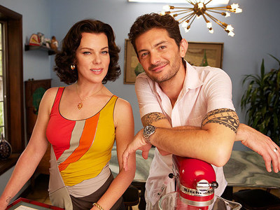 """Debi Mazar and Gabriele Corcos of Cooking Channel's """"Extra Virgin""""; Photo Courtesy of Gabriele Corcos"""