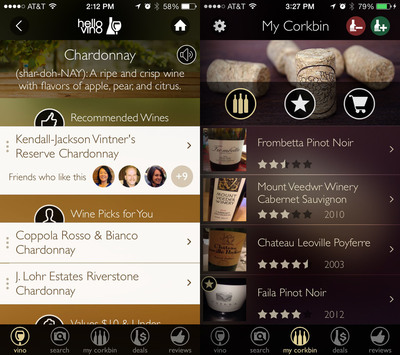 Corkbin's social networking features added to Hello Vino wine app. (PRNewsFoto/Hello Vino)