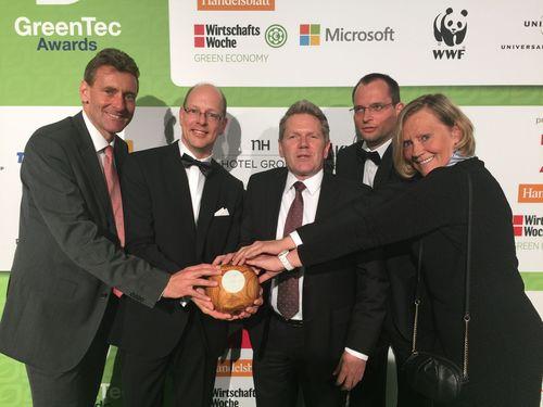 The RWE team in Berlin (left to right): Sebastian Ackermann, Head of Corporate Communciations / Marketing RWE ...