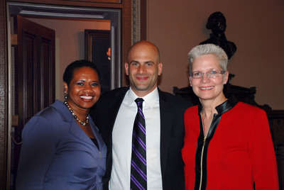 Fritzi Woods, WFF CEO and President; Sam Kass, Assistant White House Chef and Senior Policy Advisor for Healthy Food Initiatives; Lorna Donatone, WFF Chair, Sodexo Education, COO and President.  (PRNewsFoto/Women's Foodservice Forum (WFF))