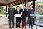 Ken Kobayashi, President and CEO of the Mitsubishi Corporation, and Domenico Giorgi, the Italian Ambassador to Japan, between Paolo d'Amico (left) and Cesare d'Amico (right) owners of d'Amico Group, during the decoration awarding ceremony of the Order of the Star of Italy. d'Amico Group, the Italian shipping company, supported the candidacy of Mitsubishi Corporation, considering the long time and profitable cooperation which is a positive model of the economic relations between Italy and Japan.