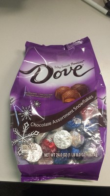 Front of DOVE(R) Chocolate Assortment Snowflakes, 24.0 oz. bag