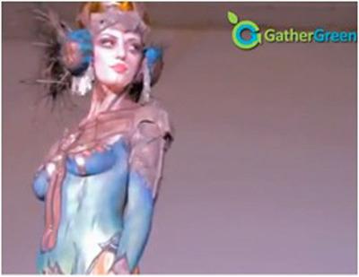 Body paint model at Chroma Coalition.  (PRNewsFoto/GatherGreen)