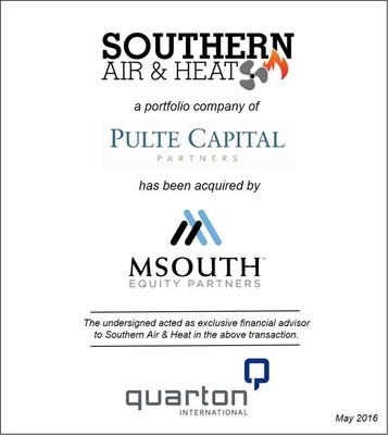 Quarton International Advises Southern Air & Heat in its Sale to MSouth Equity Partners
