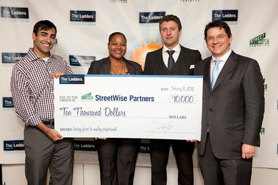 TheLadders hosted its inaugural Career Boot Camp with a $10,000 donation to StreetWise Partners: (from L to R) Rahul Advani, chairman and StreetWise Partners' founder; Tracey Allard, Executive Director, StreetWise Partners; Alex Douzet, President and co-founder, TheLadders;  Marc Cenedella, CEO and founder, TheLadders.  (PRNewsFoto/TheLadders)