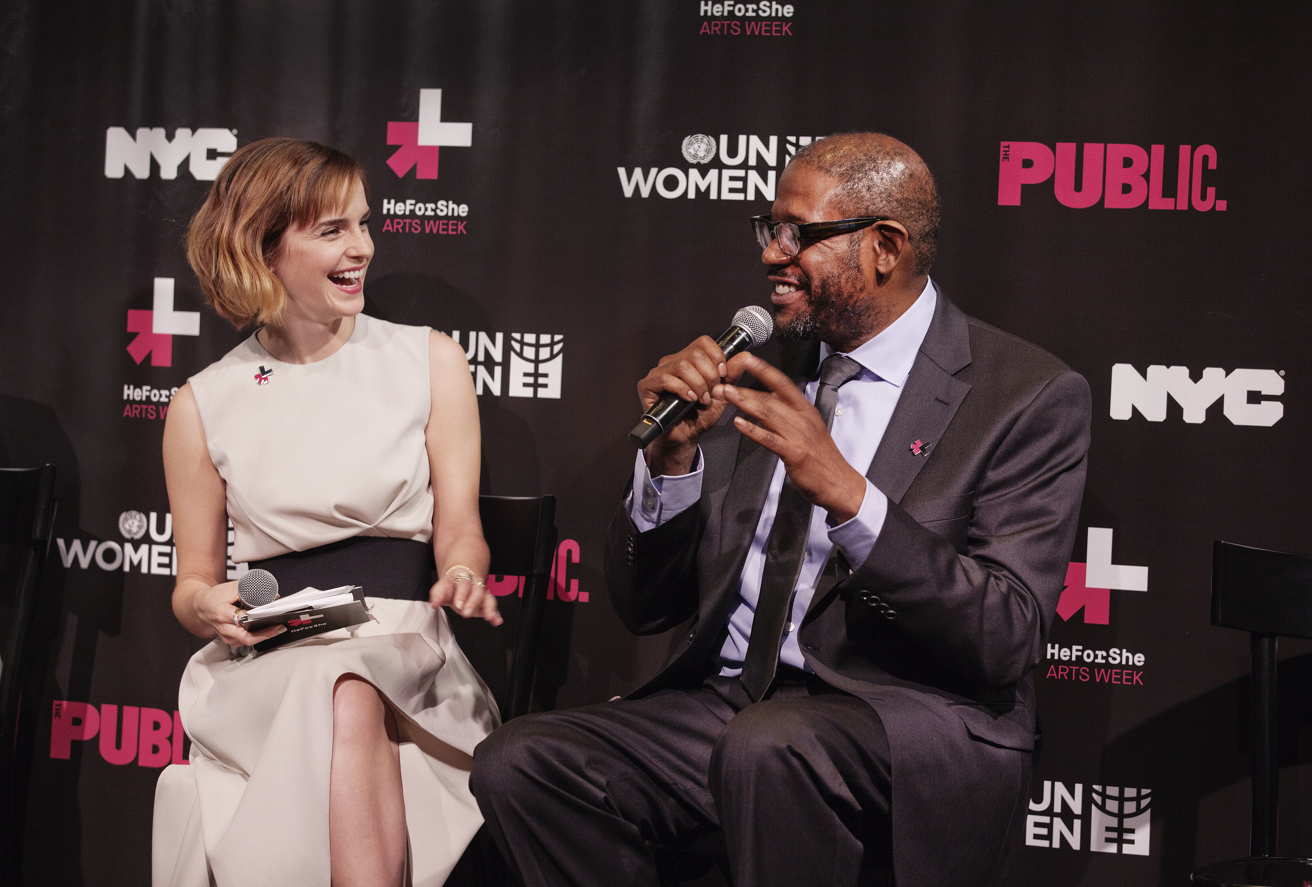 UN Women Goodwill Ambassador Emma Watson, SDG Advocate and UNESCO Special Envoy for Peace Forest Whitaker discuss issues of gender equality at the launch of HeForShe Arts Week on International Women's Day