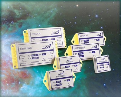 VPT's new SVR Series of power products for space applications are radiation hardened, TOR compliant, and qualified to MIL-PRF-38534 Class K. These DC-DC converters, point of load converters, and EMI filters are suitable for use in low Earth orbit (LEO), medium Earth orbit (MEO), geostationary orbit (GEO), deep space, and launch vehicle programs. These are the first standard power converters available compliant to MIL-HDBK-1547 & Aerospace TOR requirements without customization.  (PRNewsFoto/VPT, Inc.)