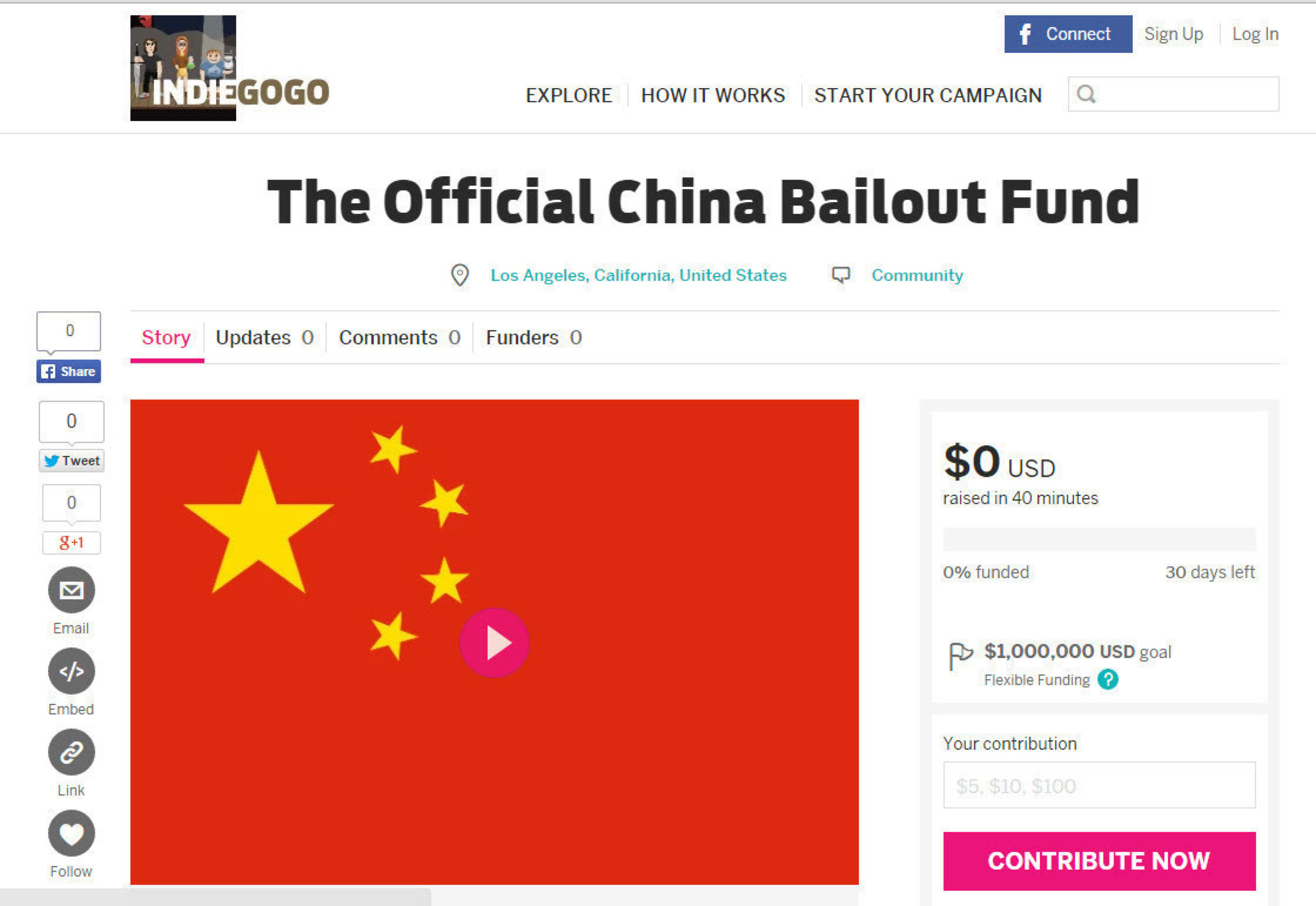 China Bailout Fund Launches: IndieGoGo Campaign Set to Raise Emergency Money