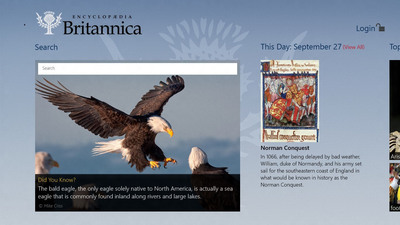 The Encyclopaedia Britannica App home page. The app delivers the entire encyclopedia to Windows 8 users in a cool, sleek, interactive format. It's the latest in a long line of digital products for the 244-year-old publisher, which created the first digital encyclopedia in 1981.
