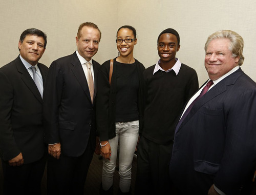 Dr. Jeffrey R. Gunter M.D., Dean of USC Medical School Carmen A. Puliafito, Tai Royster & Darren Harris from Lifeline Charter School in Compton, CA, and Elliott Broidy.  (PRNewsFoto/Elliott Broidy)