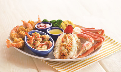 Red Lobster's Grand Seafood Feast features an abundant combination of seafood including a crab-and-lobster-stuffed Maine lobster tail, savory brown-butter shrimp scampi, wild-caught snow crab legs and jumbo hand-battered shrimp.