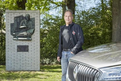 Christian Borgward at the stone commemorating his grandfather, Carl F. W. Borgward, in Bremen-Sebaldsbruck, the  ...