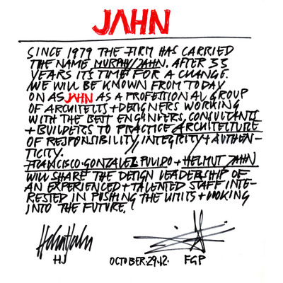 In a handwritten note characteristic of his trademark design sketches, architect Helmut Jahn announced today that he will share design leadership with architect Francisco Gonzalez-Pulido.  As part of this evolution, the firm will be renamed JAHN, setting a new standard for excellence in global architecture.  (PRNewsFoto/JAHN)