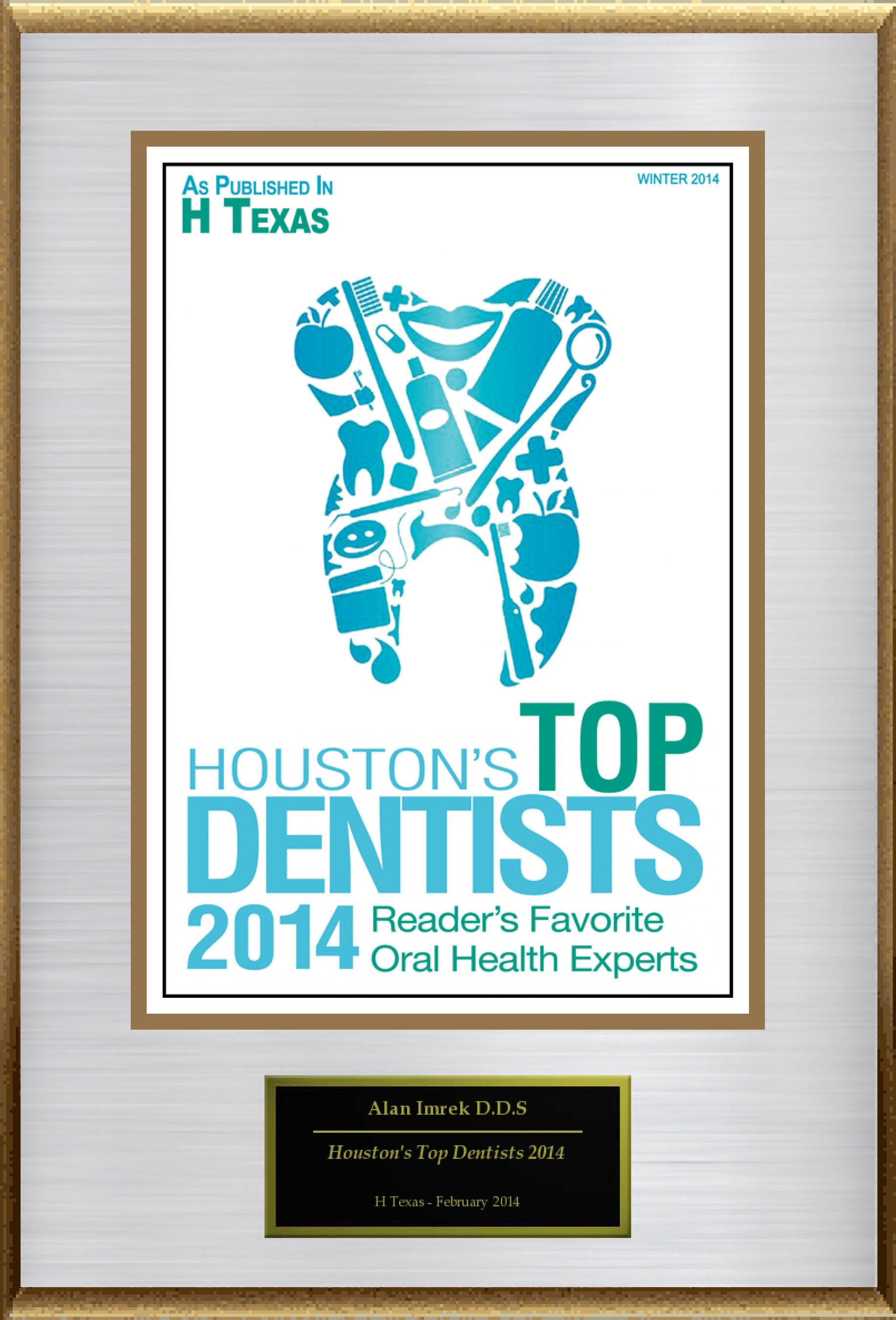 "Alan Imrek D.D.S Selected For ""Houston's Top Dentists 2014"". (PRNewsFoto/American Registry) (PRNewsFoto/AMERICAN REGISTRY)"
