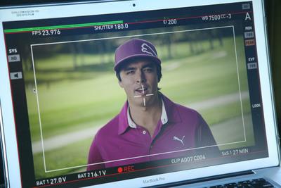 "PGA TOUR pro Rickie Fowler on-set shooting personalized videos for Crowne Plaza's ""The Big Win"" promotion from IHG(r) Rewards Club. (PRNewsFoto/InterContinental Hotels Group (IHG)) (PRNewsFoto/INTERCONTINENTAL HOTELS GROUP)"