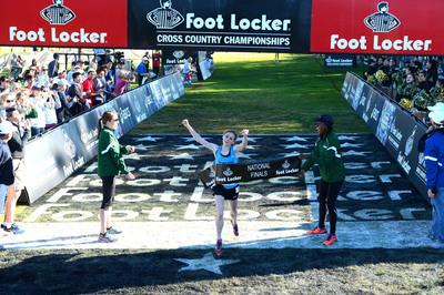 Tessa Barrett, a senior at Abington Heights High School, in Waverly, Pa., wins the Foot Locker Cross Country Championships in 17:16.  (PRNewsFoto/Foot Locker)