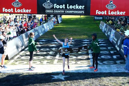 Tessa Barrett, a senior at Abington Heights High School, in Waverly, Pa., wins the Foot Locker Cross Country ...