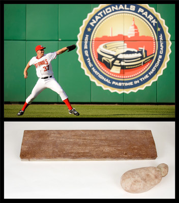 "Pitching sensation Stephen Strasburg warms up before his first game with the Washington Nationals in June 2010. The pitching rubber and rosin bag he used during his dazzling debut are among the 30 artifacts in the exhibit ""Nationals at 10: Baseball Makes News,"" opening July 31 at the Newseum. Top: Courtesy the Washington Nationals. Bottom: Photo: Amy Joseph/Newseum; artifacts: Loan, Washington Nationals Baseball Club"