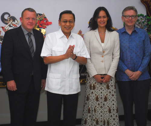 From left to right: GGGI Council Chair Lars Rasmussen, Indonesia Vice President Boediono, GGGI Country Representative Anna van Paddenburg, and GGGI Director-General Howard Bamsey. The four met in Jakarta to discuss GGGI's work in Indonesia. (PRNewsFoto/Global Green Growth Institute) (PRNewsFoto/GLOBAL GREEN GROWTH INSTITUTE)
