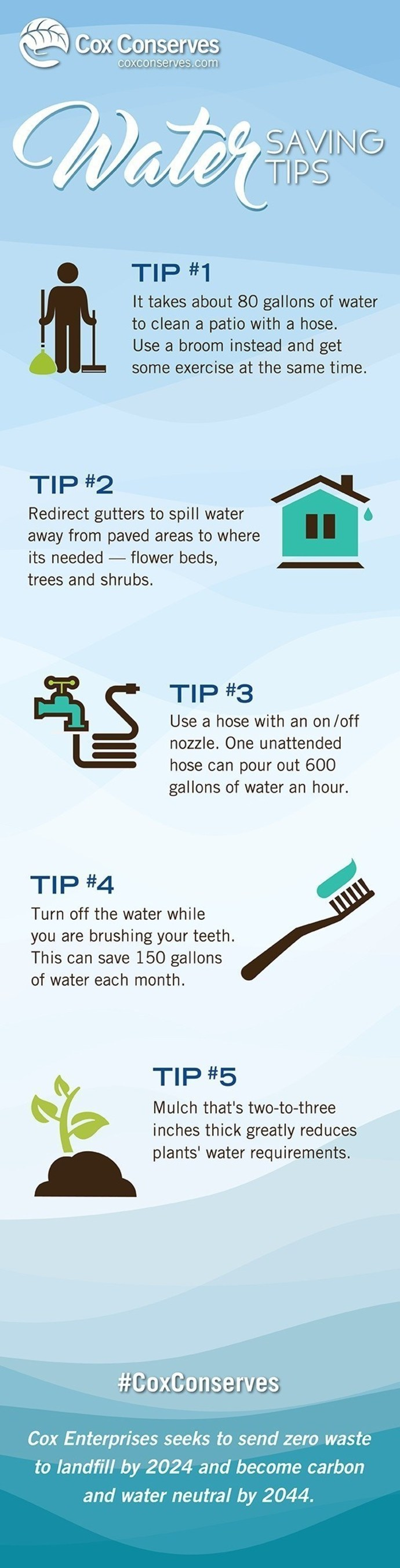 Here are simple tips you can use to conserve water.