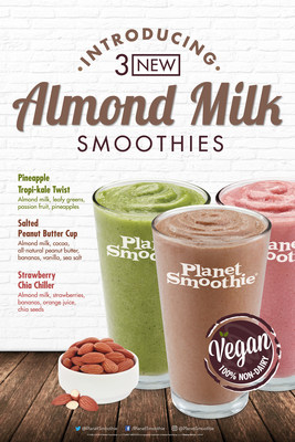 Planet Smoothie(R) announces almond milk as its first ever non-dairy milk option, which can be found in three new limited time only, vegan smoothies: Pineapple Tropi-Kale Twist, Salted Peanut Butter Cup, and Strawberry Chia Chiller, available September 5, 2016.