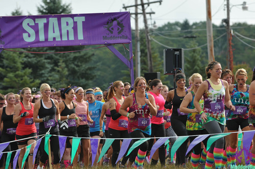 Participants get ready at the start line for the inaugural 2013 Mudderella event. (PRNewsFoto/Mudderella) ...