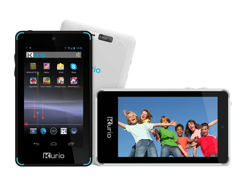 Kurio Touch 4s Android 4.2 handheld device for kids. Sleek, stylish, pocket-sized and portable, the Kurio Touch 4s allows kids to record videos, take photos, listen to favorite music, message their friends, play the apps and games they love, and safely surf the web.  (PRNewsFoto/Techno Source)