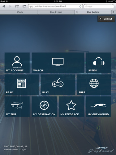 "GREYHOUND LAUNCHES ""BLUE(TM)"", AN EXCLUSIVE WI-FI ENABLED ONBOARD ENTERTAINMENT SYSTEM.  ..."