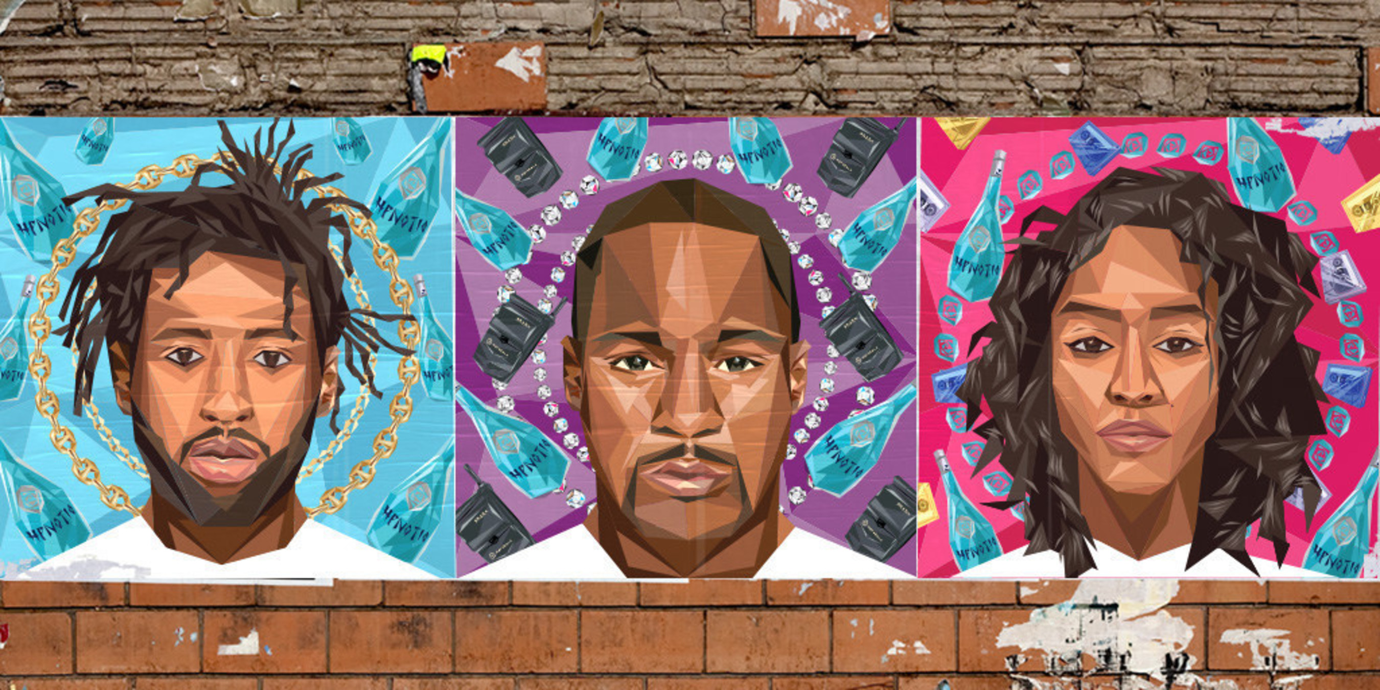 Portraits of Hpnotiq #Since2001 ambassadors Yung Jake, Cam'ron and Va$htie Kola, created by artist and brand collaborator Naturel.