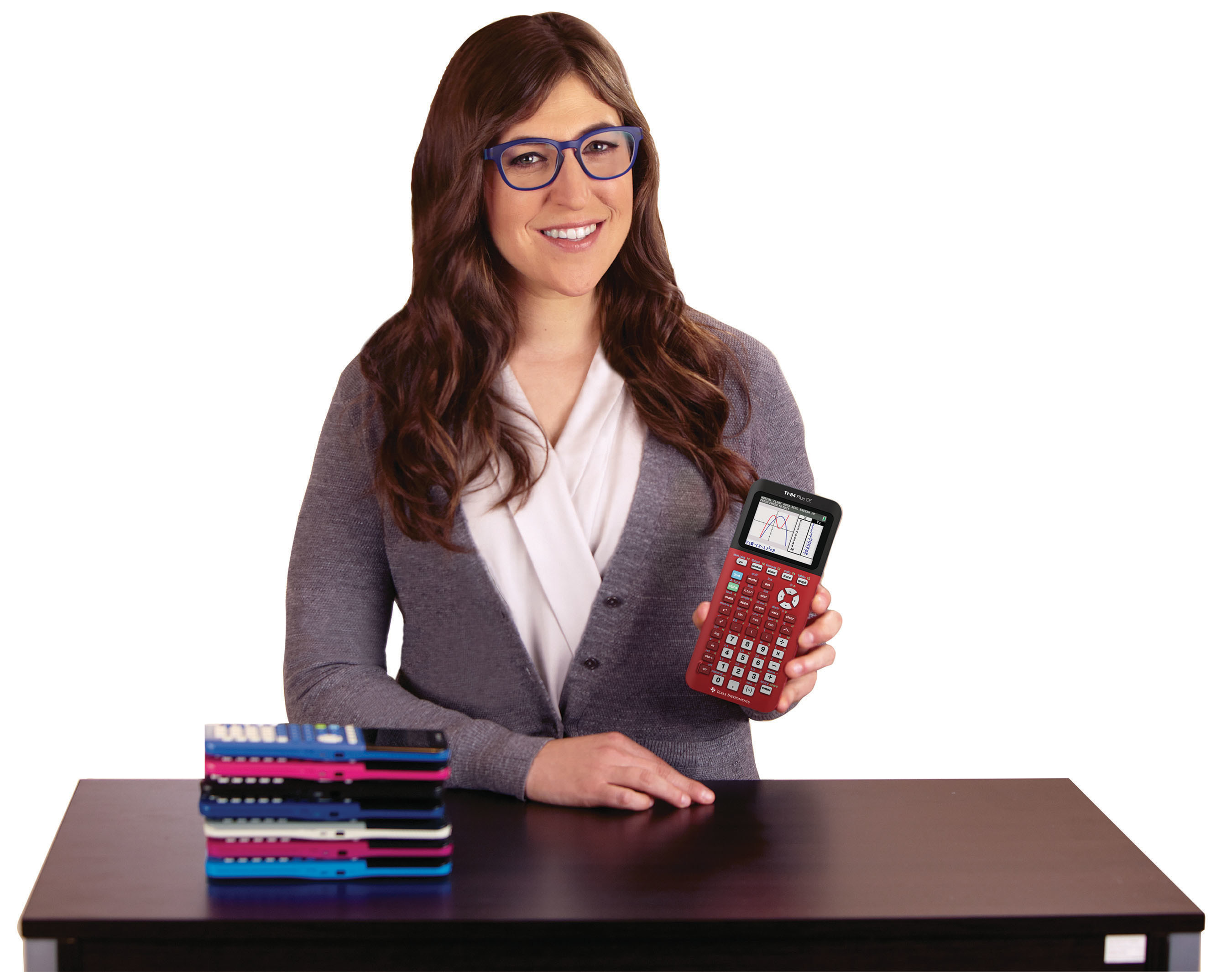 Bring Mayim Bialik back to school by showing your TI love. Share a photo or video with your TI calculator on Twitter or Instagram using #ilyTIcontest to win a classroom visit from Mayim and a class set of TI's newest graphing calculator, the TI-84 Plus CE.
