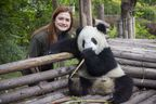 Bonnie Wright celebrates 1st anniversary of British Airways London to Chengdu direct service with magical visit to Chengdu Panda Sanctuary.