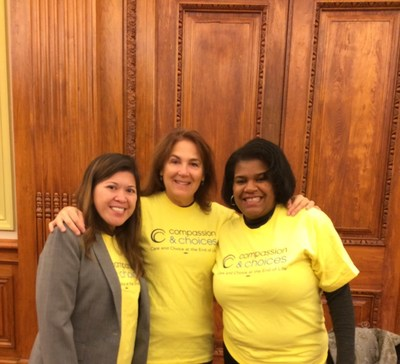 Compassion & Choices Political Director Charmaine Manansala, Compassion & Choices  volunteer Gwen Fitzgerald, Compassion & Choices D.C. Legislative and Field Manager Donna Smith at the D.C. Council