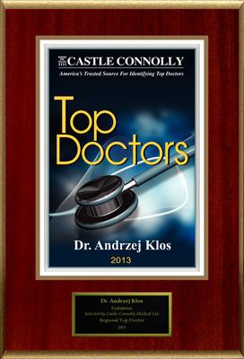 Dr. Andrzej Klos is recognized among Castle Connolly's Top Doctors(R) for Hoboken, NJ region in 2013.(PRNewsFoto/American Registry)