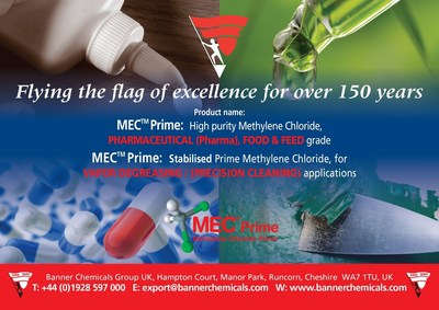 METHYLENE CHLORIDE PRIME - PHARMACEUTICAL (Pharma) GRADE Exclusively by Banner Chemicals UK (PRNewsFoto/Banner Chemicals UK)