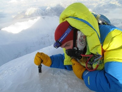 2nd Lt. Harold Earls leaves his mark in Mount Everest using a Zac Brown's Southern Grind Bad Monkey tactical knife.