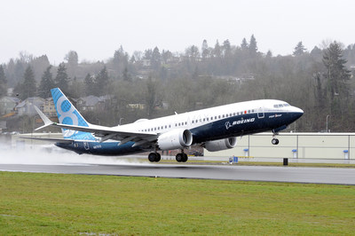"Boeing's first 737 MAX takes off from Renton Field in Renton, Washington. The airplane, named the ""Spirit of Renton,"" flew for about 2 hours and 45 minutes. Boeing photo by Matthew Thompson."