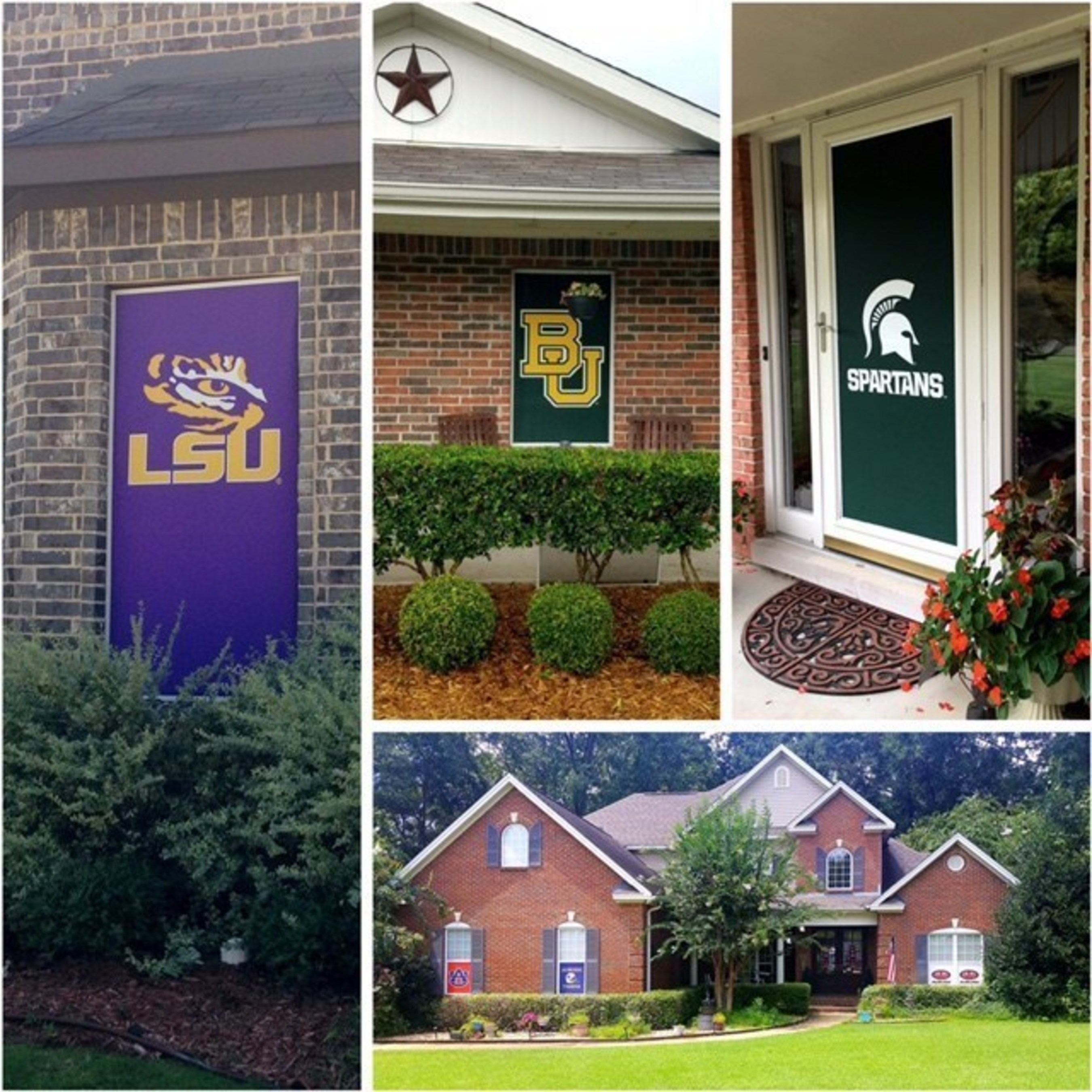 Game Day(TM) Screens installed on windows in Texas, Michigan, and Alabama. Leave them up for a game, a season, or year round.