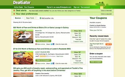 Screenshot of DealGator.com Member's Page.