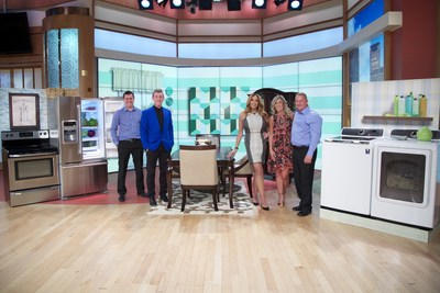 """Aaron's and """"The Wendy Williams Show"""" give away a new dining, kitchen, laundry room set to Otisville, NY resident Jacqueline Wilson and her family (pictured far left, son Connor, son Jonathan, Wendy Williams, winner Jacqueline Wilson and her husband John, far right) as a part of the 'Win a Room in June' contest."""