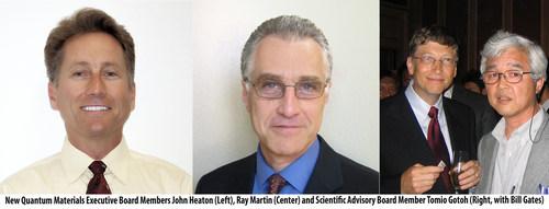 New Quantum Materials Corp. Board Members John Heaton (left), Ray Martin (center) and Scientific Advisory Board Member Tomio Gotoh (right) pictured with Bill Gates. (PRNewsFoto/Quantum Materials Corp.)