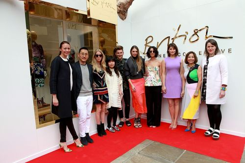 From left to right: Caroline Rush, Eudon Choi, Mary Charteris, J. JS Lee, Henry Holland, Amber Le Bon, Yasmin ...