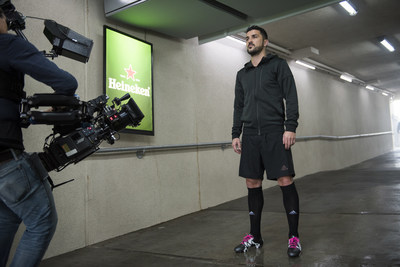 """David Villa showcases that """"Soccer is Here"""" on set on his latest campaign for Heineken(r)."""